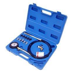 Olajnyomásmérő készlet, gyors csatlakozós tömlő, 10db adapter