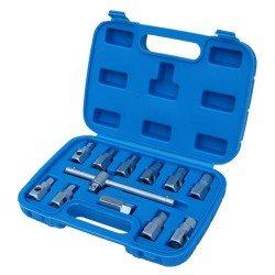 Oil drain plug socket set, 11pcs, sliding T-handle