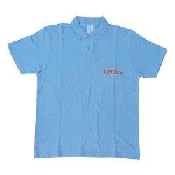 Lincos póló, galléros nyakkal, kék, XL-méret